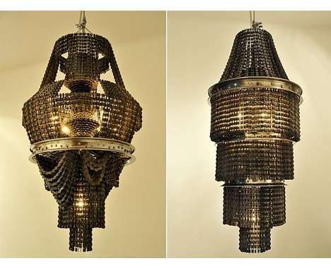 chandeliers made from repurposed bicycle parts by artist carolina fontoura alzaga