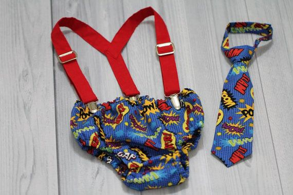 Neck Tie, Diaper Cover and Suspenders  set. Comic Words. Super Hero. Baby Boy Photo Prop, baby shower gift, wedding