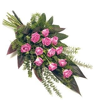 12 Rose Sheaf - Pink - funeral flowers Passion For Flowers