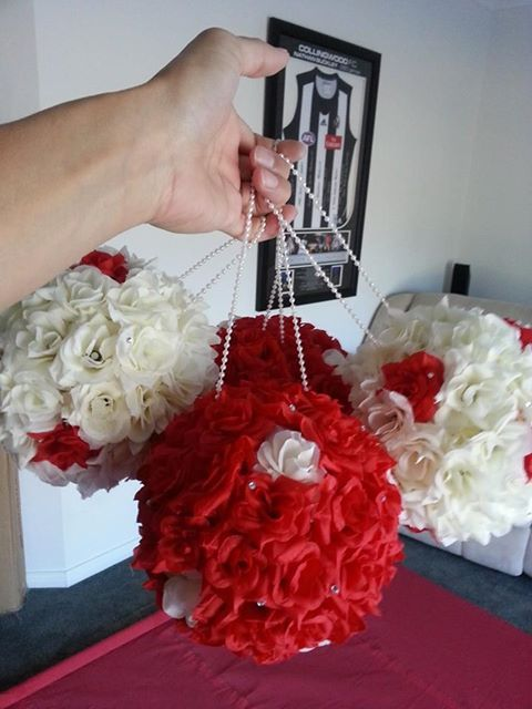 Kissing Ball Bouquets made for my wedding!! Something different, cheap to make and lasts forever!!