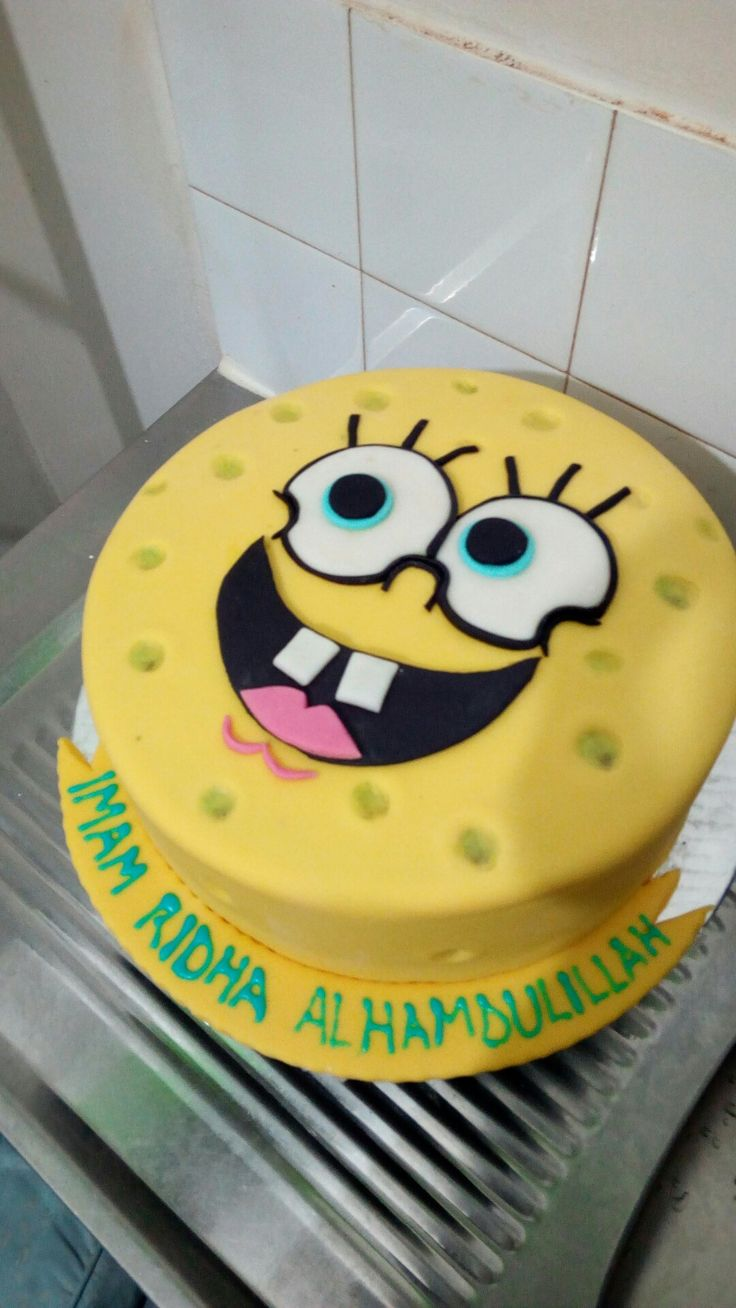 Spongebob cake.. Alhamdulillah