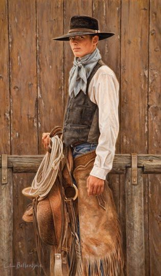 """Buckaroo GQ - Oil painting by Carrie Ballantyne (20"""" x 13"""") - The Great Plains buckaroos have always had a stylish flair in their particular attire and gear. 