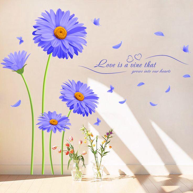 Purple Chrysanthemum Love Quote Wall Sticker //Price: $17.44 & FREE Shipping //     #wallsticker