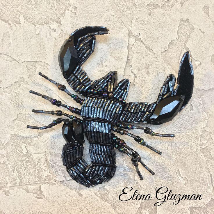 Скорпион. Вышивка на шелковом бархате японским бисером Тохо, стразами Сваровски, итальянским стеклярусом.