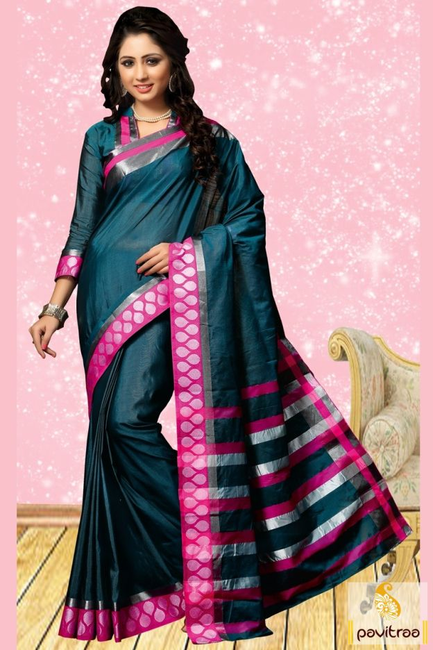 Forever fresh feel in this dark cyan cotton saree online shopping with discount rate. It is decorated with lace patti work on saree with close neck blouse. #sarees, #casualwearsaree, #casualsaree, #onlinesareeshopping, #cottoncasualsaree, #discountoffer, #pavitraafashion, #utsavfashion, #lowestpricesaree, #lacepatticasualsaree, #sareewithblouse http://www.pavitraa.in/store/casual-saree/ callus:+91-7698234040