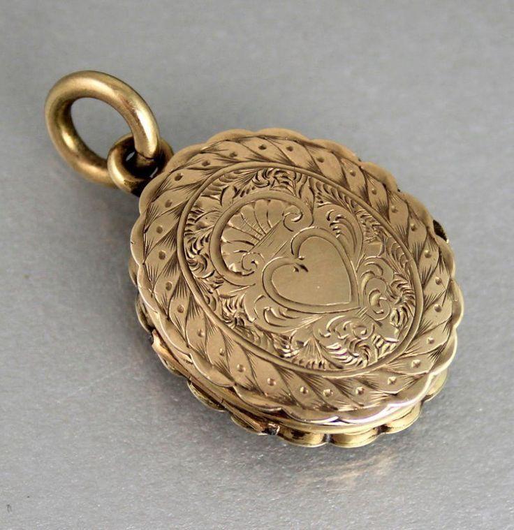 VICTORIAN 9CT GOLD DOUBLE OPENING PENDANT / LOCKET c 1890's