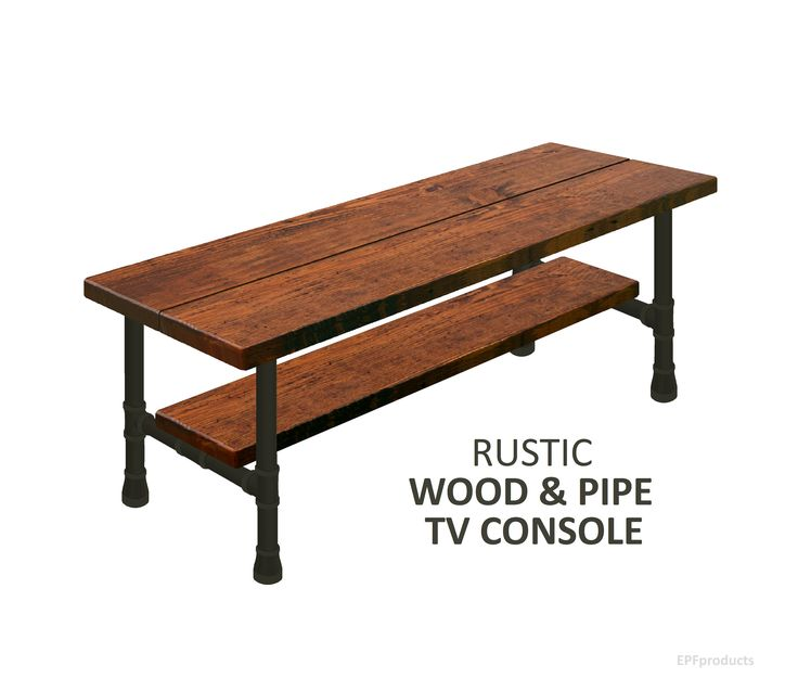 TV Stand Console with Shelf, Urban wood Television Console Stand, Industrial TV Stand, Rustic Wood Media Console, Rustic Wood & Pipe Console by EPFproducts on Etsy https://www.etsy.com/listing/540722620/tv-stand-console-with-shelf-urban-wood
