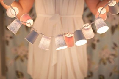 You just need mini paper cups and string lights to make this