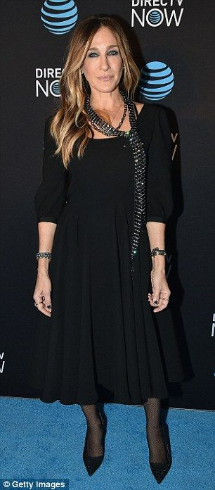 Stylish as always: Sarah Jessica Parker looked fabulous in a midi length, three quarter sl...