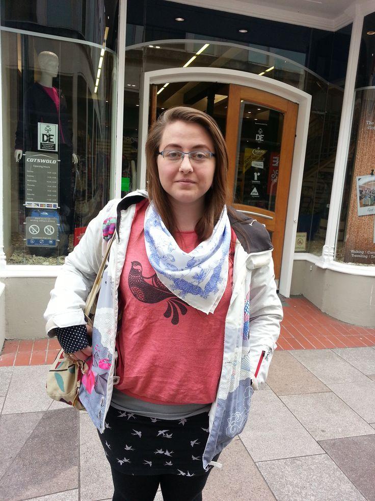 Josie in @Merlin  scarf! looking fab! #cupofdaisies