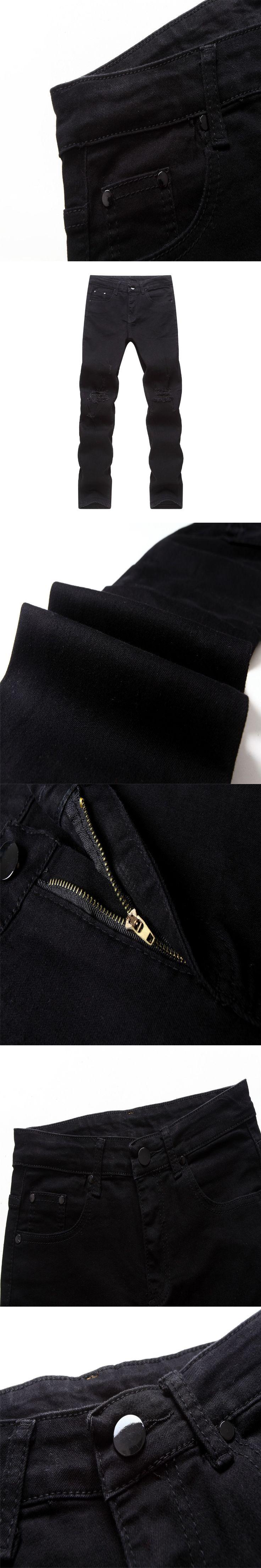 New Fashion Mens Slim Fit Jeans Moto Denim Joggers Pleated Jean Pants Cheap Straight Leg Jeans for Men Deep Black