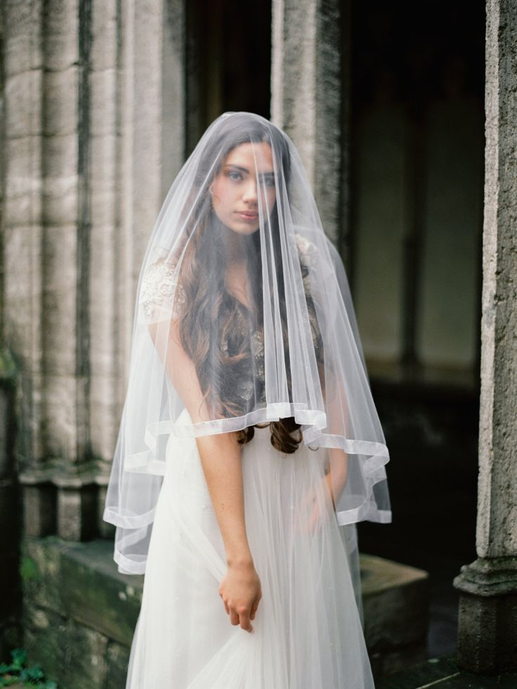 Sheer Tulle Drop Veil With Organza Ribbon Edge