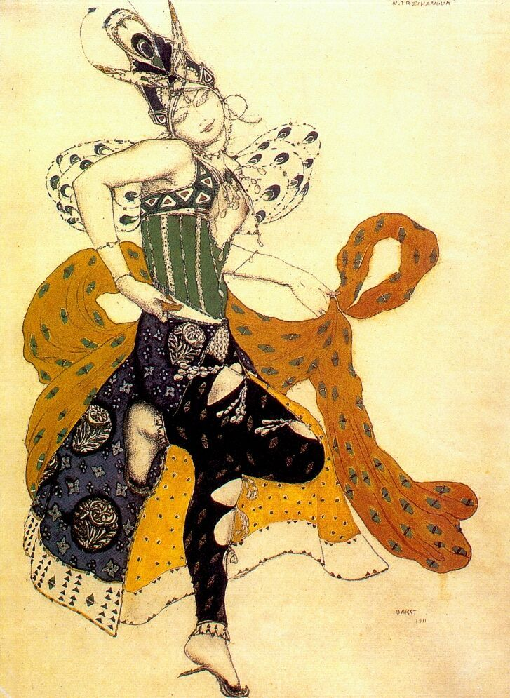 "Costume Design for Natasha Trouhanova as the Peri in ""La Peri"" (1911). Leon Bakst. La Peri is a ballet by French composer Paul Dukas about a man's search for immortality and his encounter with the mythological Peri which carries the flower of immortality. Bakst designed specific to Trouhanova as the Peri and Vaslav Nijinsky as Iskender. However, because Serge Diaghilev did not feel that Trouhanova was enough a skilled dancer to be a partner to Nijinsky, the production was cancelled."