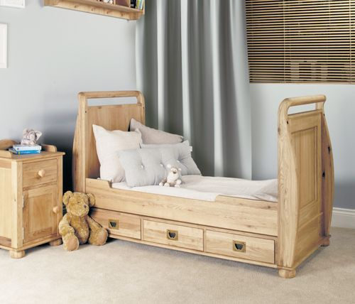Amelie Oak Cot-Bed with Three Drawers #home #furniture #oak #wood #interior #decor #design #bedroom #cot #bed #storage