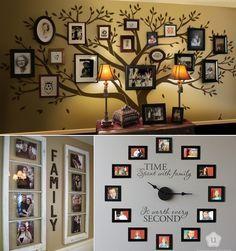 10 Creative Ideas to Display Family Photos - http://www.amazinginteriordesign.com/10-creative-ideas-display-family-photos/