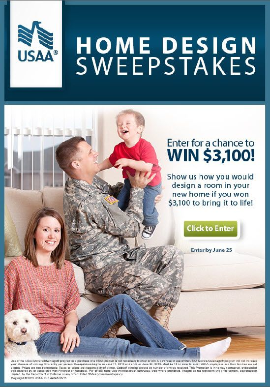 Only One Lucky Winner Will Take Home The $3,100 USAA Home Design Sweepstakes  Grand Prize,