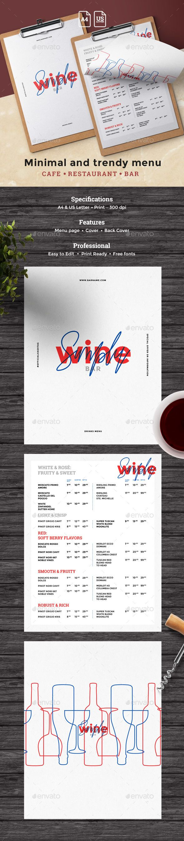 Wine Drinks Menu - #Food #Menus Print Templates Download here:  https://graphicriver.net/item/wine-drinks-menu/19608582?ref=alena994