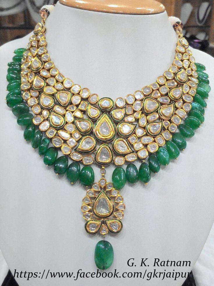 Green meenakari diamond polki necklace with beryl drops | Vilandi Jewelry | Diam...