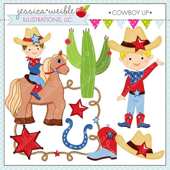 Cowboy Up Cute Digital Clipart for Commercial or Personal Use, Cowboy Clipart, Cowboy Graphics