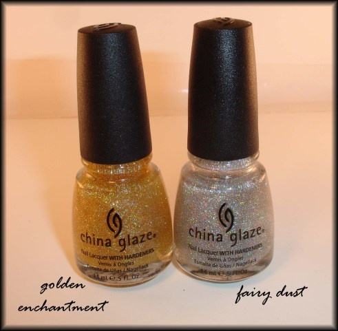 China Glaze Golden Enchantment and Fairy Dust: Fairies Dust, Nails Polsih, Nailpolish, Beautiful, China Glaze Golden Enchanted, Nails Polish, Fairy Dust