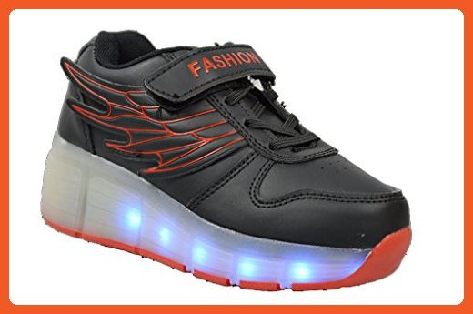 Golden Road Led Light Up Walking Sneakers Shoes with Wheel for Women Ladies Wholesale (5, Black) - Sneakers for women (*Amazon Partner-Link)