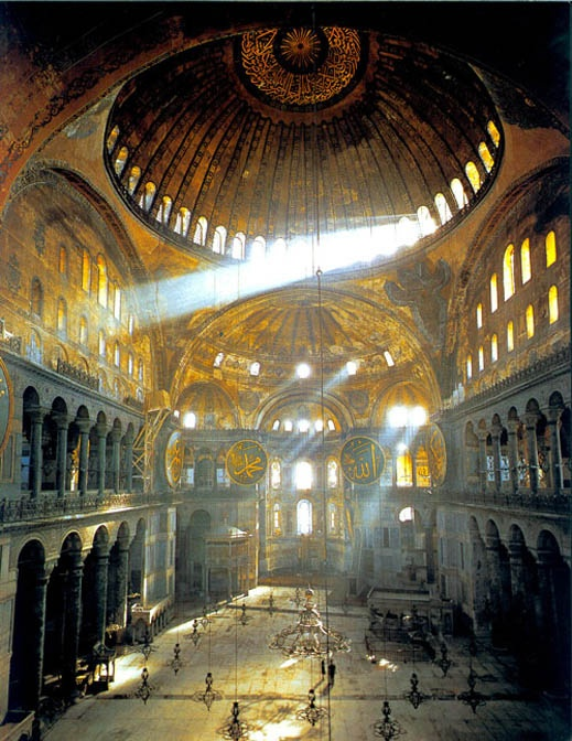 The Church of the Holy Wisdom, Istanbul (Constantinople), consecrated in 537. The Arabic medallions, furnishings and script were added when it was converted into a mosque, after the Turkish conquest.