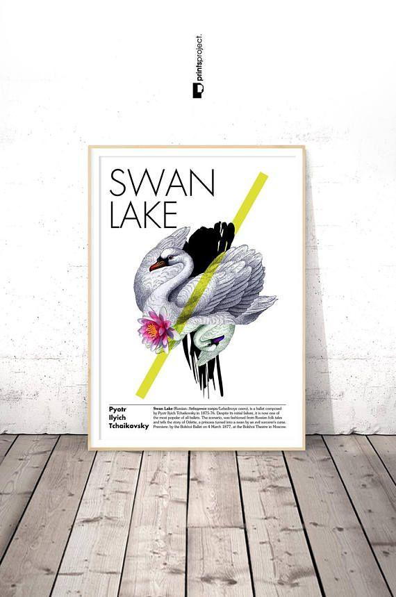 Ballet Poster Swan Lake Wall Art Dance Teacher Gift Studio