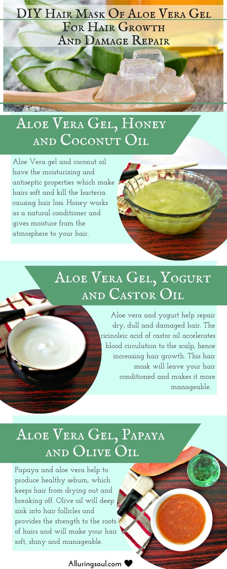 Apply hair mask of aloe vera gel which  promotes hair growth, repairs damaged hair etc. Aloe vera hair masks become more effective when another natural ingredients are mixed with it like castor oil, coconut oil, honey, papaya etc.
