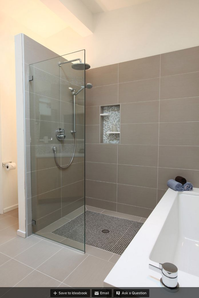 Different Size Tile On Curbless Shower Looks Like 2ft Glass Off Wall Shower Indoor