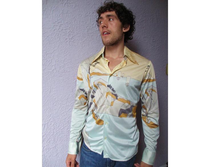 70s VTG Men's Art Print Disco Shirt Rare Silky Geno Studio 54 style. $69.00, via Etsy.