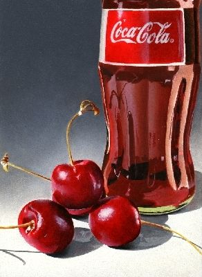 Cherries and Coca Cola realistic painting, Jacqueline Gnott