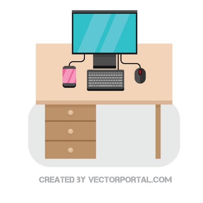 Computer On A Desk Vector Image Vector Images Free Vector Illustration Vector Free