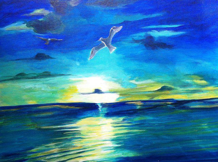 peinture acrylique sur carton toile art moderne paysage mer marine coucher de soleil sur l. Black Bedroom Furniture Sets. Home Design Ideas