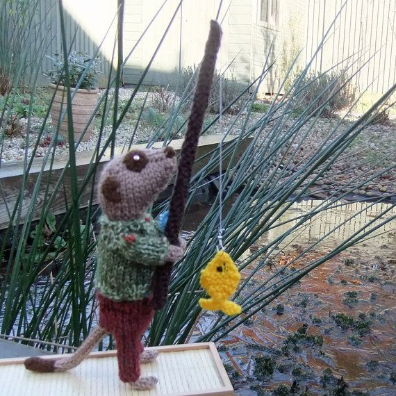Meerkat Fisherman hand knitted Angler with his first by niftyknits, £25.00