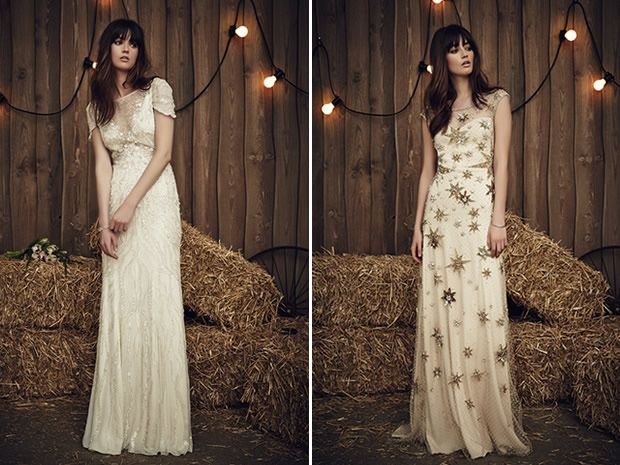 The Nashville from Jenny Packham's 2017 collection features delicate beading, while Jolene's star details make it a unique choice. #weddingdresses #countrywedding #bohobrides #bridalstyle