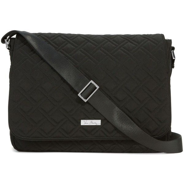 Vera Bradley Laptop Messenger Crossbody Bag in Classic Black (11880 RSD) ❤ liked on Polyvore featuring bags, classic black, cross body, laptop messenger bag, vera bradley crossbody, laptop bag and plastic messenger bag