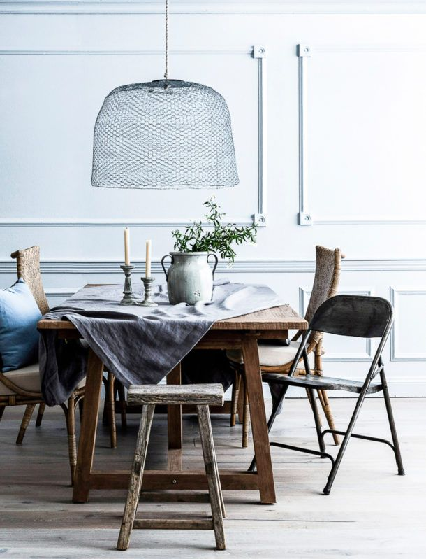 The 25 best wire lampshade ideas on pinterest quirky home decor of the dining space in a similar muted blue colour scheme that continues from the living room again a simple yet striking chicken wire lampshade adds greentooth Gallery