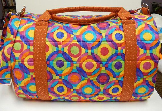 Barrel Bag Quilted Travel Bag Gym Bag Large Abstract