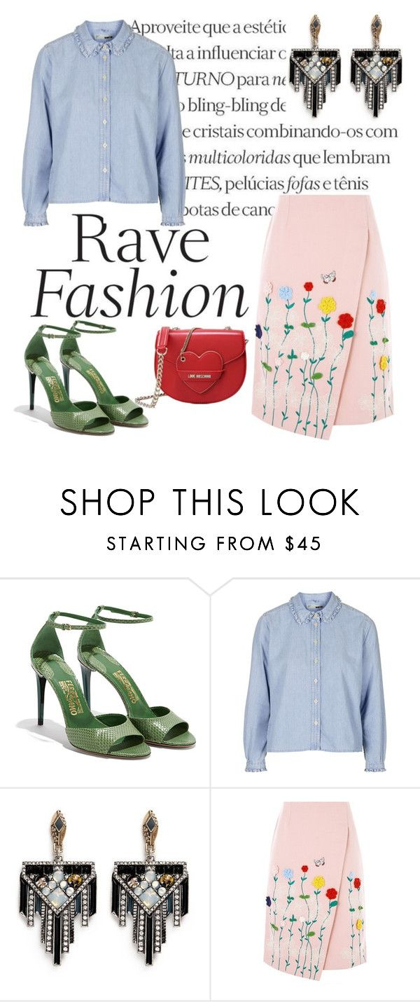 """""""Rave Fashion"""" by olecika-777 ❤ liked on Polyvore featuring Salvatore Ferragamo, Topshop, Lulu Frost, VIVETTA, Love Moschino and PolyvoreMostStylish"""