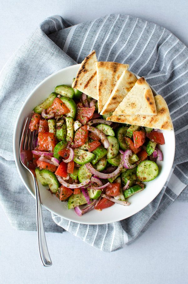 Fattoush Salad - A simple and easy Middle Eastern salad that comes together in just minutes. It's piled high with fresh veggies and leaves you feeling healthy and satisfied. (Vegan & GF) | RECIPE at NomingthruLife.com