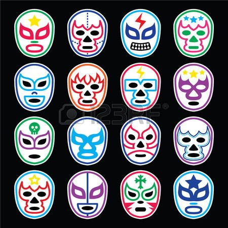 Lucha Libre Mexicana máscaras de lucha libre iconos en negro