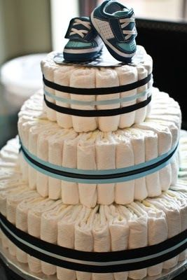 3 Tier Diaper Cake Tutorial  via Momaroo.com  I love the simplisity and easiness of this Tutorial. There are lots of different styles of Dia...