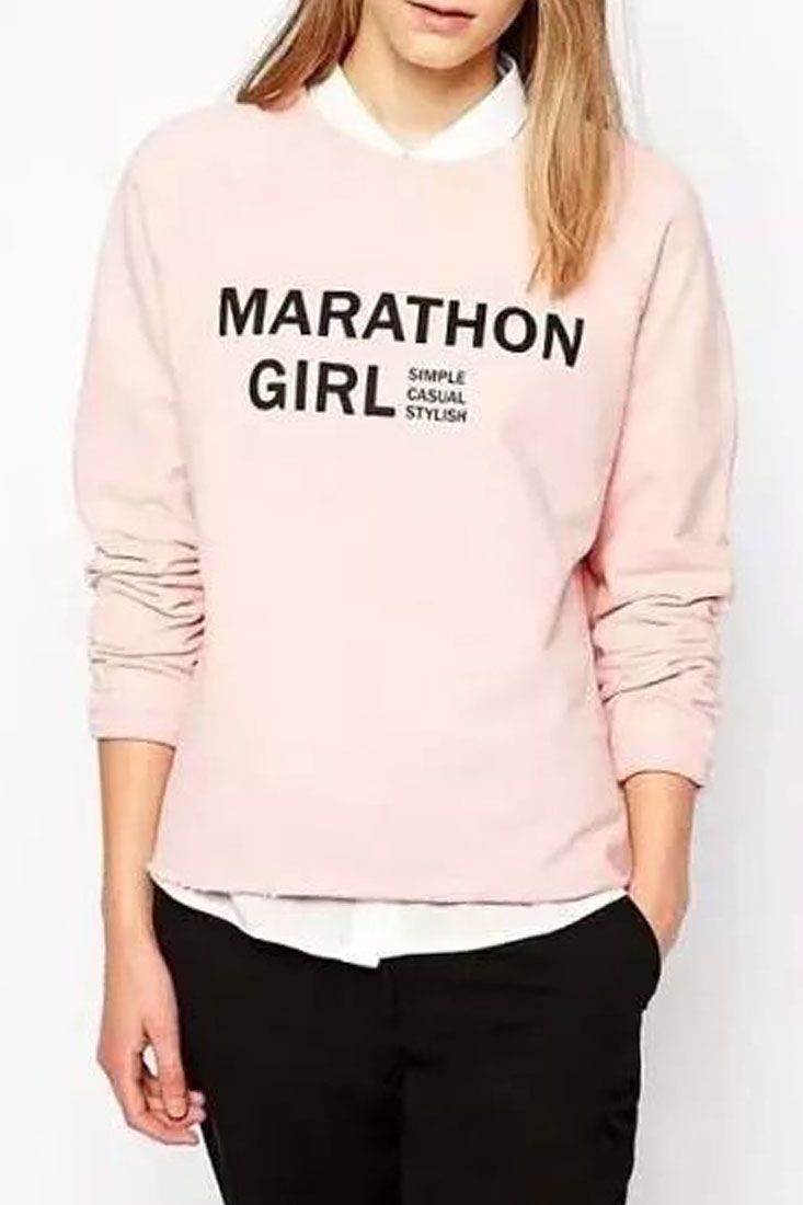 The sweatshirt featuring Marathon Girl print. Round neckline. Long sleeves. Perfect with blue jeans for a casual look.