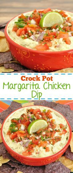 Easy slow cooker chicken dip recipe. This Crock Pot Margarita Chicken Dip will be a great appetizer for Cinco de Mayo or summer party.