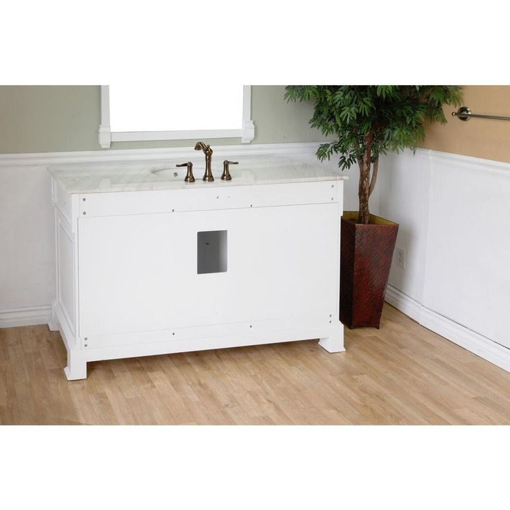 Bellaterra Home Ashington WH 60 in. Single Vanity in White with Marble Vanity Top in White-205060-S-WH - The Home Depot