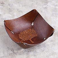Leather catchall tray, 'Tree of Life'