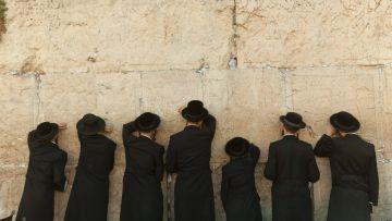 Ultra-Orthodox Jewish men pray at Jerusalem's Western Wall (Photo:Tomer Appelbaum - Haaretz)