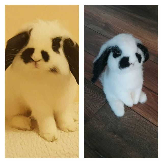 Needle felted bunny portrait by TheDustyRabbit