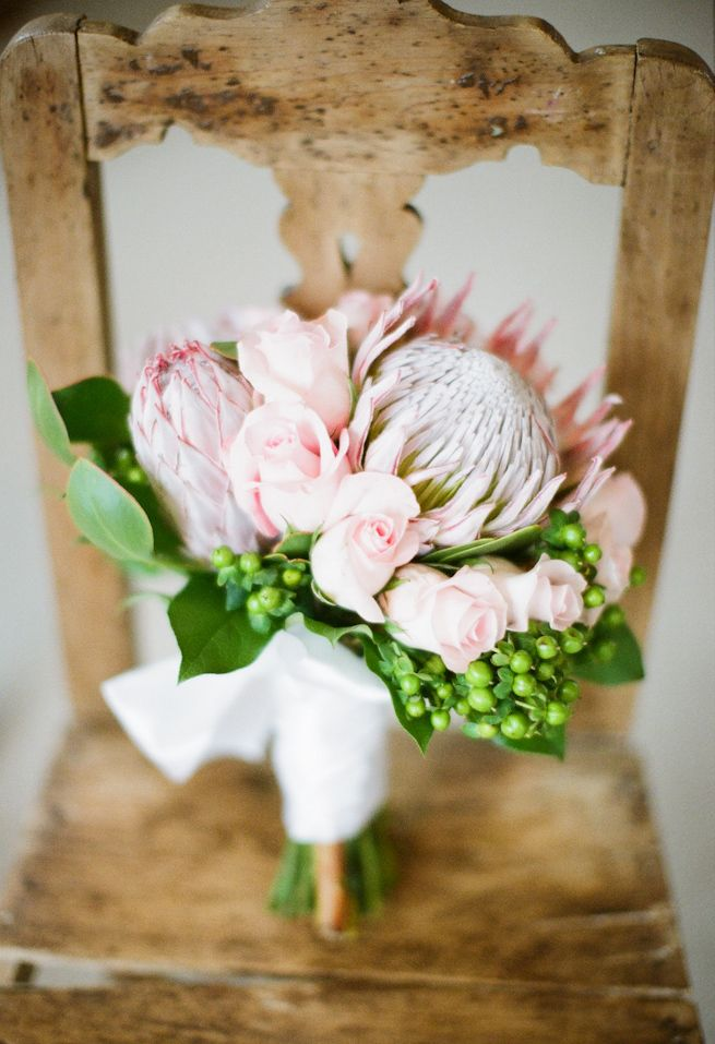 South African and British; Protea and Rose... me in a boquet! Definitely want this for my wedding :)