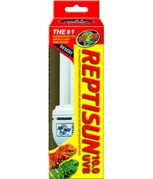 """ReptiSunâ""""¢ 10.0 Perfect for all desert and basking reptiles. 10% UVB Output, 30% UVA Output, FULL SPECTRUM The new ReptiSunâ""""¢ Compact Fluorescent lamps use a special UVB transmitting quartz glass for maximum UVB penetration. Cool burning compact fluorescent bulbs screw into standard threaded sockets, eliminating the need for a separate ballast. Lamp can be oriented either vertically or horizontally in your reptile hood or clamp lamp fixture. UVB emissions help prevent or reverse metabolic…"""